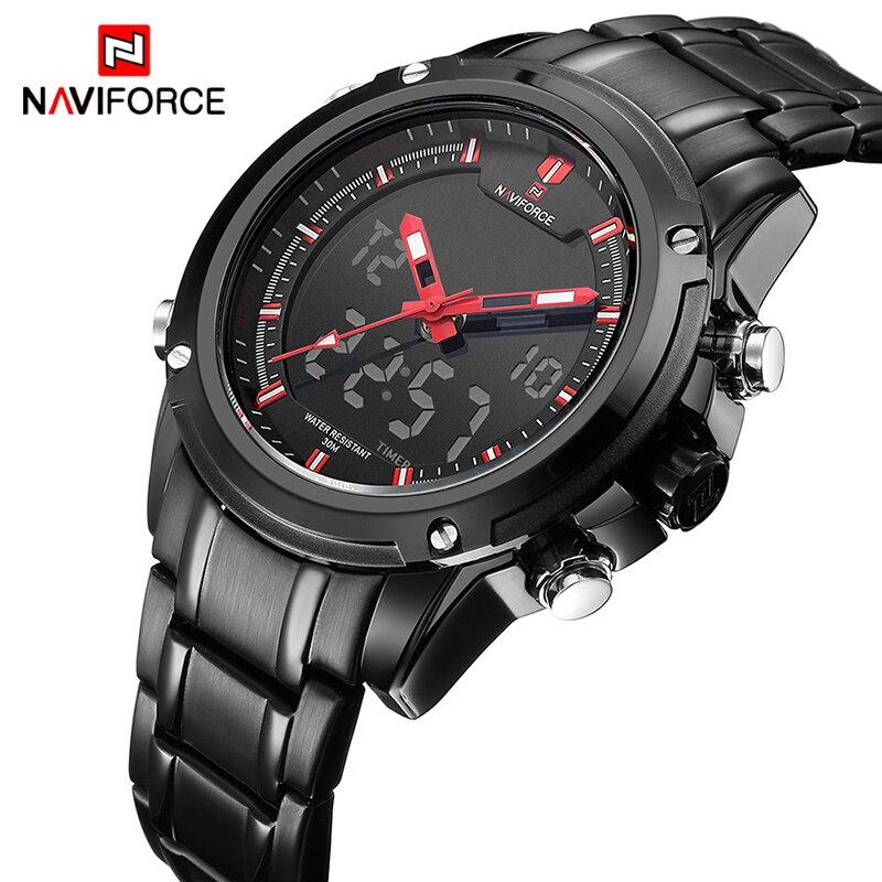 Marque NAVIFORCE Montres hommes de luxe En Acier Plein Quartz Horloge LED Numérique Montre Armée Militaire Sport montre-bracelet relogio masculino