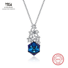 LEKANI Crystals From Swarovski Necklace925 Ms. Exquisite Prom Necklace Christmas Snowflake Square Pendant Necklace her jewellery cute small bear pendant necklace best fashion pendant made with crystals from swarovski hp0538