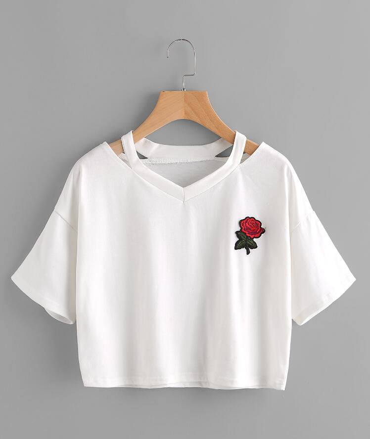 2018 sommer V-ausschnitt Bestickte Stieg Kurze T-shirt