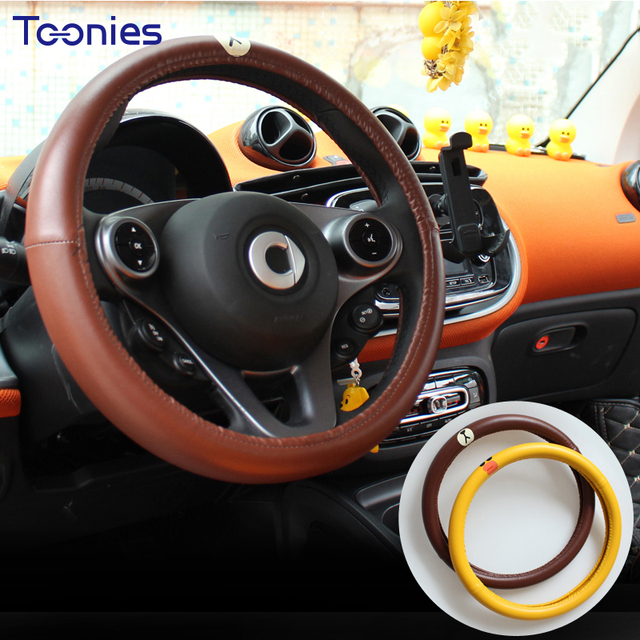 Soft Pu Car Steering Wheel Cover Cartoon Smart Fortwo Auto Accessories Breathable Anti Slip