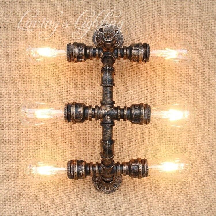 Loft Style Conduite D'eau Lampe Edison Applique Murale Avec Interrupteur Rétro Mur Luminaires Intérieur Vintage Industrielle Éclairage Lampara