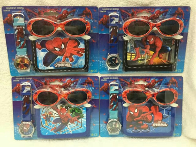 NEW Classic 12 Set Cartoon Spider Man watches Wristwatch watch and Purses Wallets Set Glasses Set