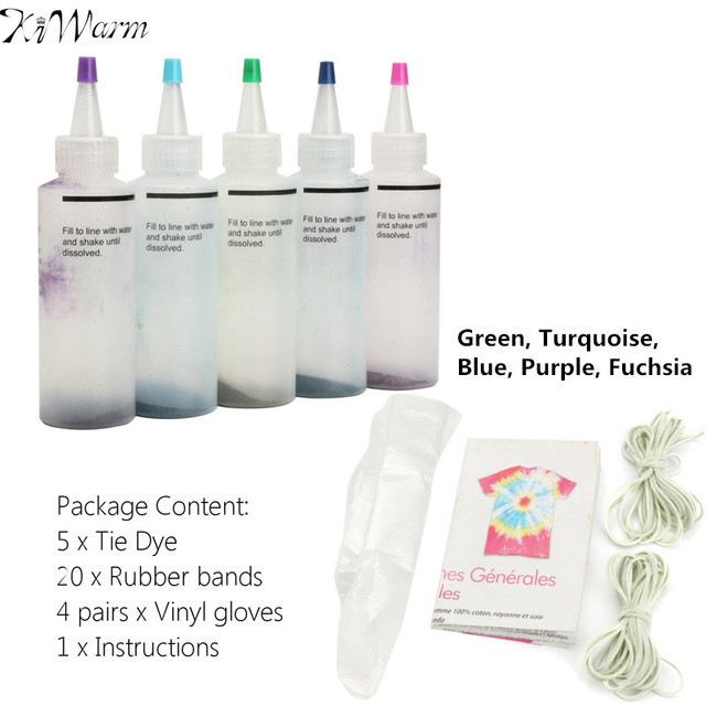 18f8c5646e9d KiWarm 5Pcs 5 Colors One Step Tie Dye Kit Activated Dye +20Pcs Rubber Bands  +Vinyl Gloves for Clothing Painting DIY Craft Supply