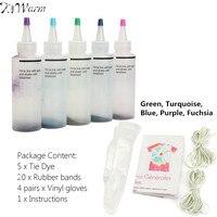 KiWarm 5Pcs 5 Colors One Step Tie Dye Kit Activated Dye 20Pcs Rubber Bands Vinyl Gloves