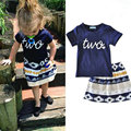 2017 New Girls Clothing Sets Summer Shirt Shorts+Aztec Skirt Tribal Style Girls 2PCS Suits T-shirt Skirt Suit For Kids KC135
