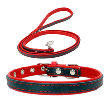 Simple Pu Leather Pet Dog Collar Thickened Comfort Puppy Collar Pet Roducts Dog Accessorie with Traction Rope