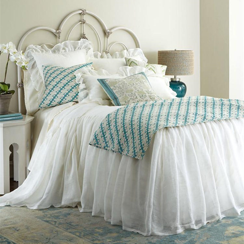 European American style bedspread two layers wrinkle mattress cover elegant princess bed sheet bedroom bedding home textile