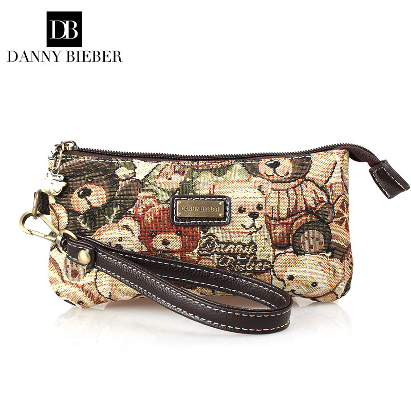 New Fashion Women Bag Handbag Famous Brand Danny Bieber Ms Hand Bag European Style Bear Day Clutch Canvas Phone Bag Zero Wallet