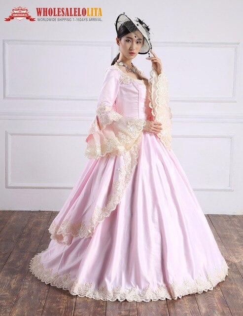 del Renacimiento Marie Alta gótico de Antonieta trajes calidad barroco Pink vestido wqO8T0