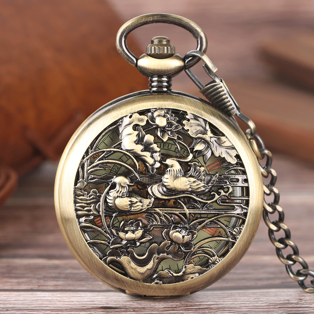 Hollow Mandarin Duck Pocket Watch Carving Lotus Automatic Mechanical Transparent Skeleton Clock  Women Retro Steampunk Watches steampunk antique silver mechanical skeleton pocket watch mens women watches vintage hollow pendant chain clock gifts retro