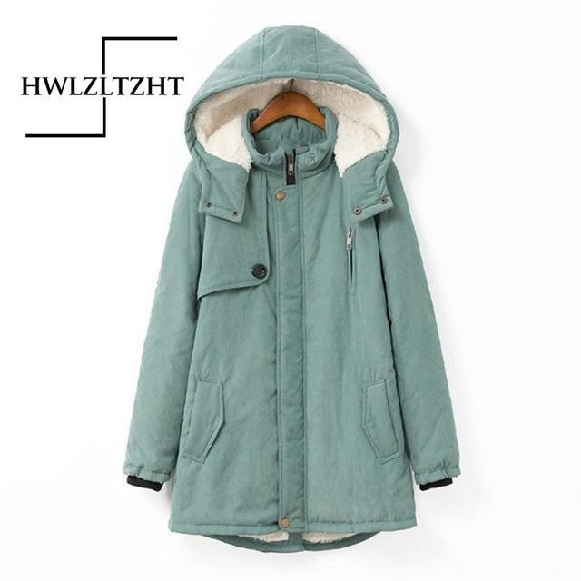 New Back Embroidery Army Green Long Winter Hooded Coat Slim Womesn Basic Jacket Woman Drawstring Big Pocket Coat Female Jacket