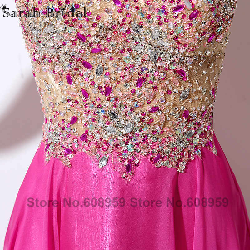 3bbd08a17100b ... Sexy Illusion Hot Pink Prom Dresses Crystal Beaded Sequins Evening  Gowns Formal Dress Real Sample Rode ...