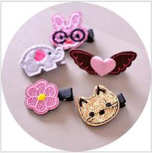 3PCS Embroidery cartoon animal hair clips cute cat rabbit elephone flower hairpin kids hair accessories child barrette J103