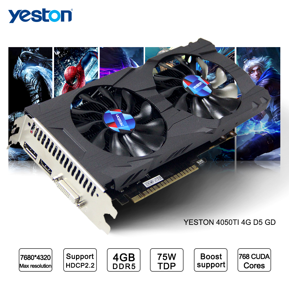 Yeston GeForce GTX 1050Ti GPU 4 GB GDDR5 128 bits ordinateur de bureau de jeu PC support cartes graphiques vidéo Ti