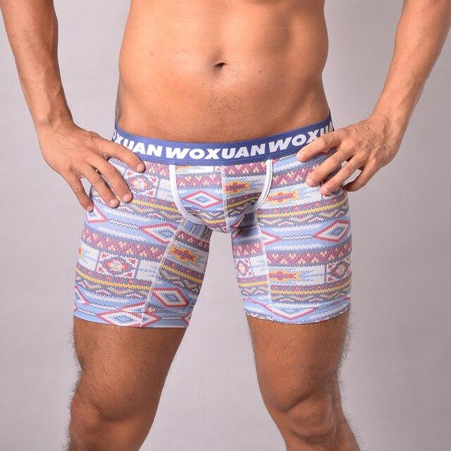 0995df26c521 Men Cotton Long Boxers Underwear Fashion Man Spandex Shorts Gay Seamless  Chinese Nation Style Print Bulge Panties Boy Underpants
