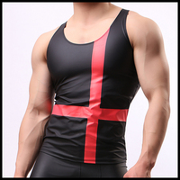 Man Fashion Tank Tops/Male Funny PU Leather O neck Singlets/European Style Print Gay Fitness Bodybuilding Vests