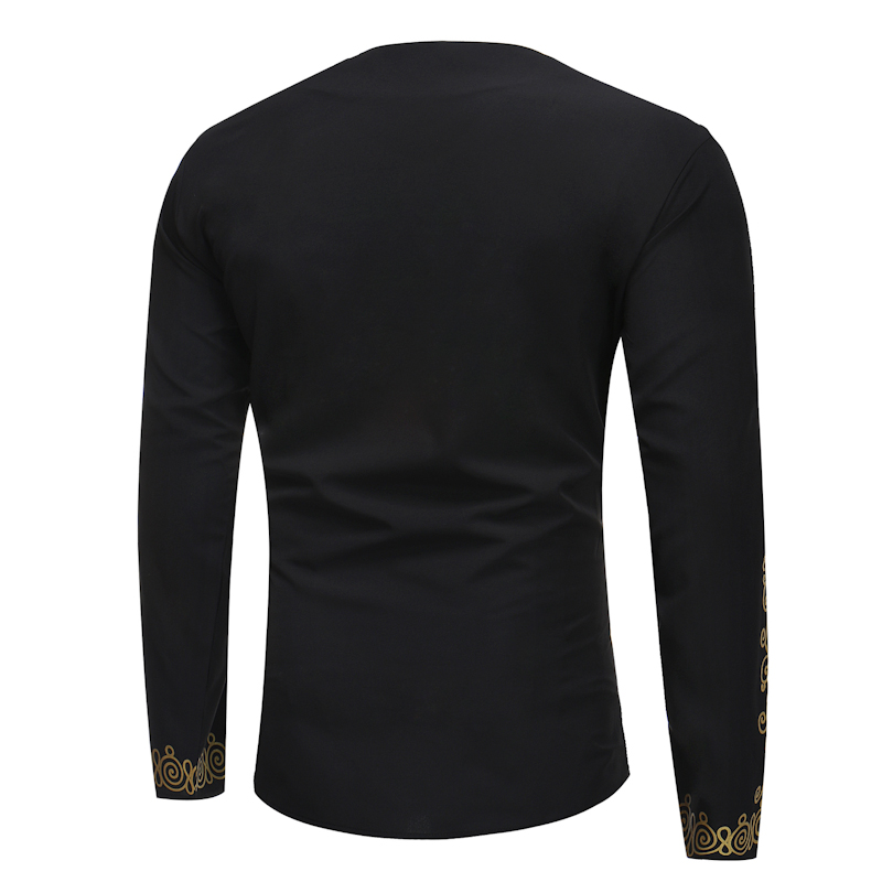 Hot 2018 Spring Men's T-shirt Tops Casual Fashion Ethnic Print Long-sleeved T-shirt Wholesale Men's Clothing (8)