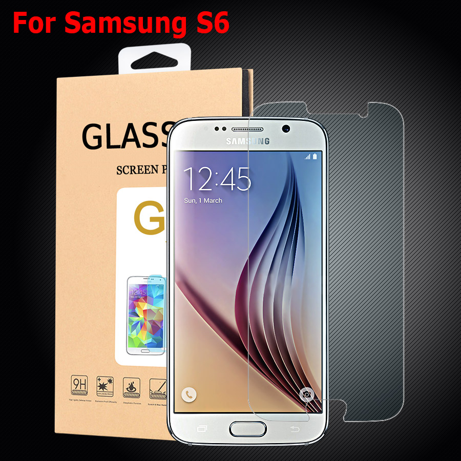 For Samsung Galaxy S6 S 6 Screen Protector 9H HD Hard 2.5D Tempered Glass For Samsung Galaxy S6 G9200 Protective Film 2pcs/lot