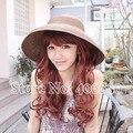 Лето солнцезащитные головные уборы для женщины, Раскладной солома пляж козырек шапки, Широкий краев chapeu флоппи-бей шляпы, Sunbonnet