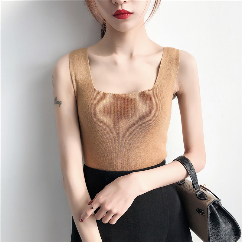 New Summer Women Korean Sexy   Top   Vest Strap Sleeveless Pure Color Horizontal Neck Knitted Casual   Tank     Top