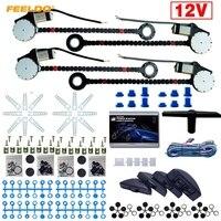 FEELDO 1Set DC12V Universal Car 4 Doors Electronice Power Window kits 8pcs/Set Moon Swithces and Harnessb Cable #FD 3740