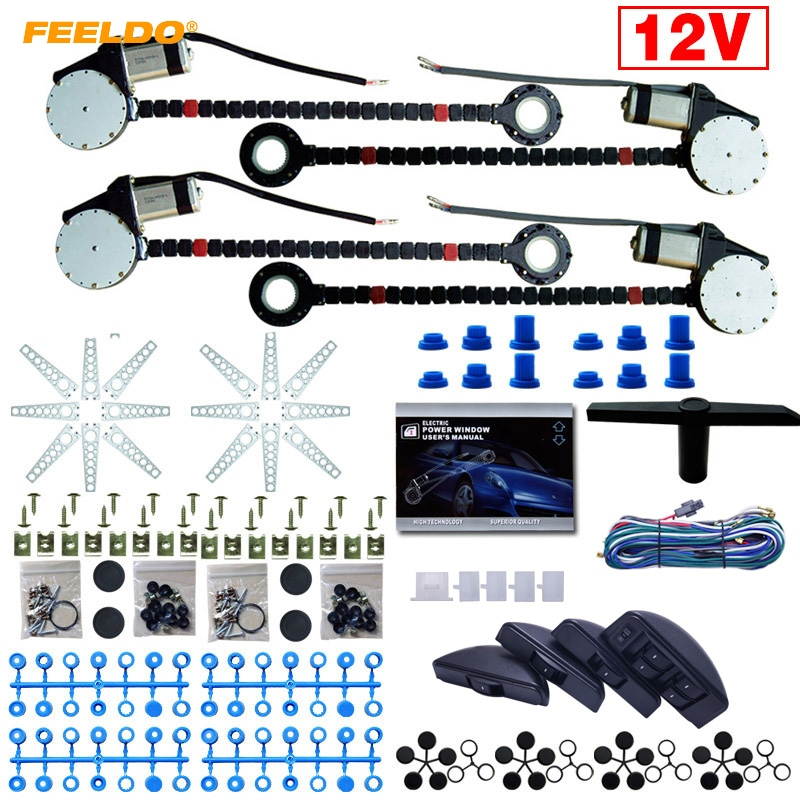 FEELDO 1Set DC12V Universal Car 4 Doors Electronice Power Window kits 8pcs/Set Moon Swithces and Harnessb Cable #FD-3740