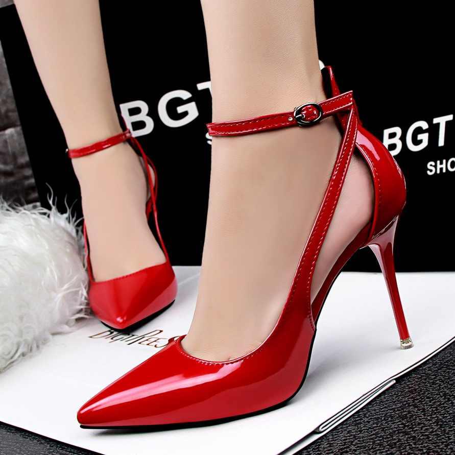 Thời trang Phụ Nữ của Giày Cao Gót Mùa Hè Dép Mỏng Gót Nông Miệng Toe Nhọn Cut-outs Thanh Lịch Bằng Sáng Chế Da giày bên