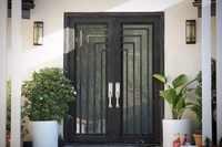 Puertas de hierro forjado al por mayor, puertas dobles de hierro, puertas delanteras de hierro a la venta hc4