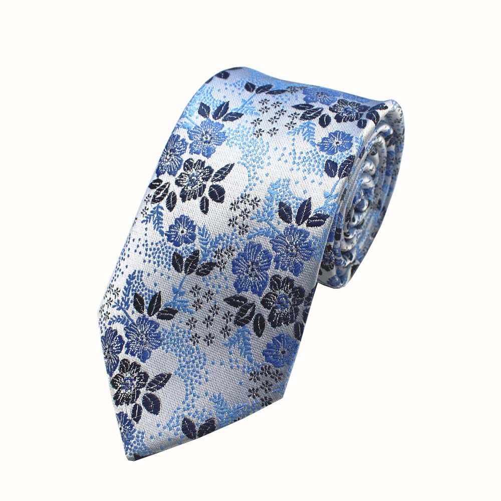 RBOCOTT moda çiçek bağları 7cm erkek kravat ipek jakarlı dokuma boyun bağları mavi kırmızı renk erkekler için iş aksesuarları