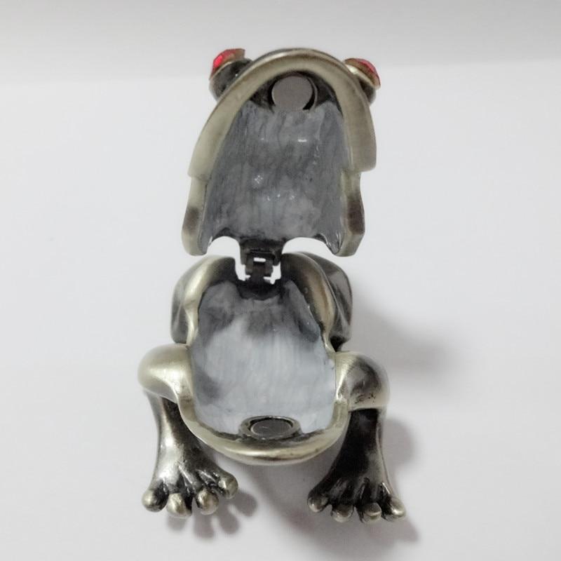 Metal Frog Jeweled Jewelry Trinket Box home decor pewter ornament wild animal enameled keepsake box vintage collectible gift