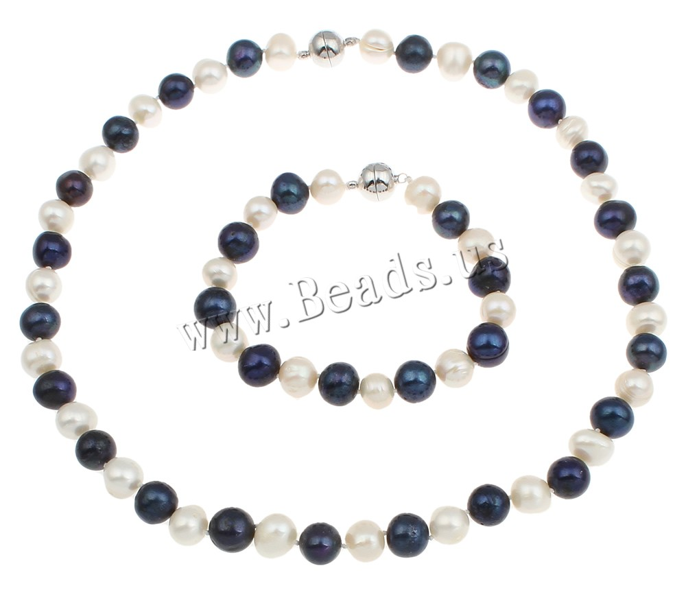 Natural Cultured Freshwater Pearl Jewellry Sets Jewellery Bracelet &  Necklace Sterling Silver Magnetic Clasp(china