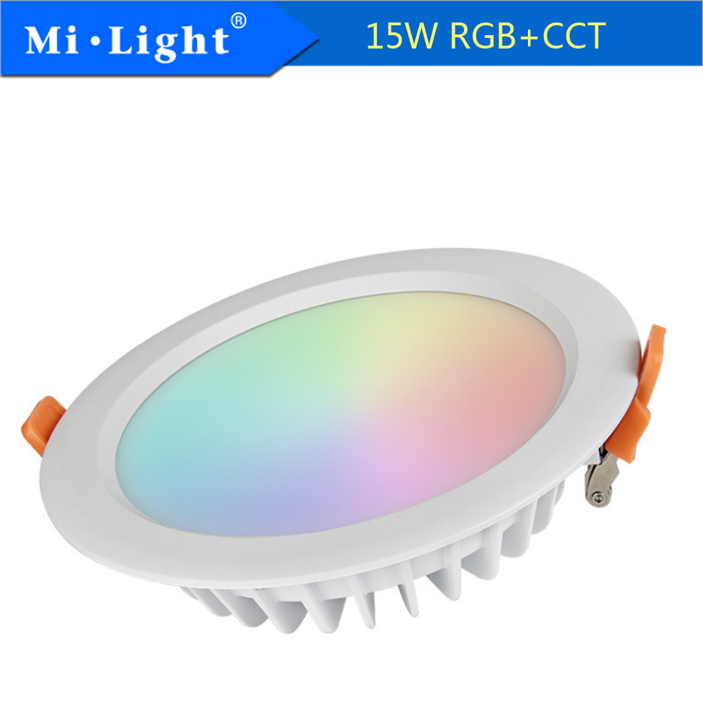 MIlight FYT069 15 W RGB + CCT LED étanche Downlight encastré lampe de LED ronde lumière intérieure ampoule de LED éclairage AC110-240V