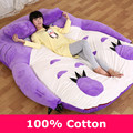 Encantador de la Historieta Totoro Cama Con Lila Púrpura Color Simple Y Doble cama Para La Opción de Lavanda Cama Mat Cojín Suave Cama Para Dormir Set