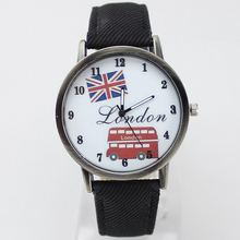 2019 new fashion canvas with cartoon logo London bus dial watch casual precision exquisite ladies casual quartz watch(China)