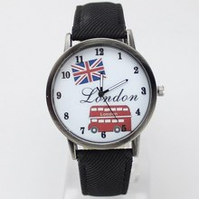 2019 new fashion canvas with cartoon logo London bus dial watch casual precision