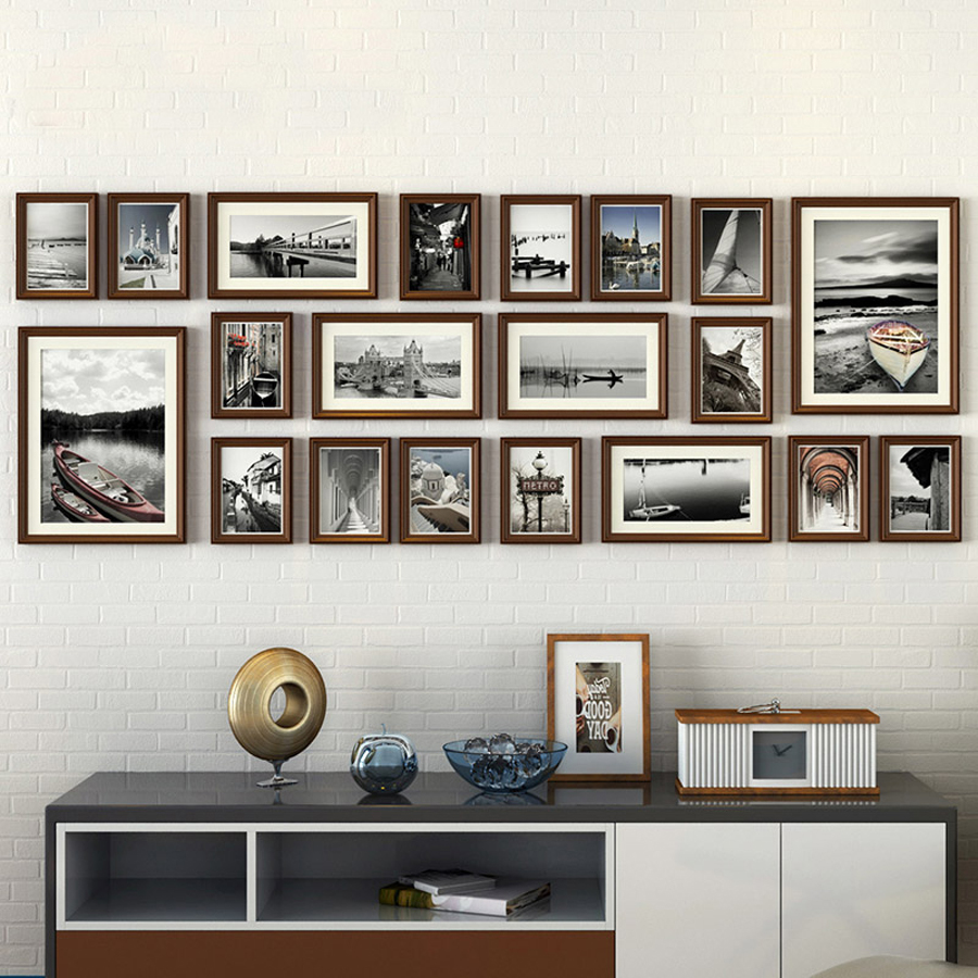 20 pz/set Europeo Stile Vintage Collage Cornice Pure Black & Brown In Legno Photo Frame Set Record Amore Famiglia Cornice Parete Set