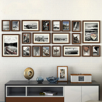 20pcs/set European Vintage Style Collage Picture Frame Pure Black&Brown Wooden Photo Frame Set Record Love Family Frame Set Wall