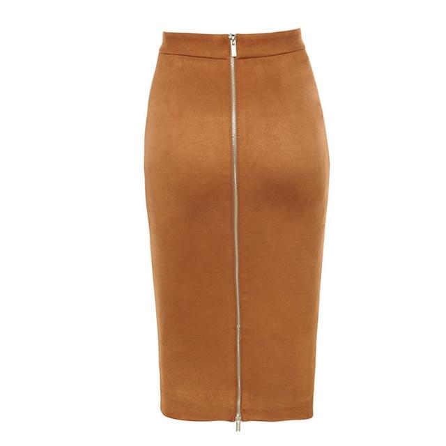 ih Women High Waist Suede Bodycon Midi Skirts Faux Leather Zipper Pencil Skirt Office Lady Elegant Wear 2019 Spring New Fashion 10