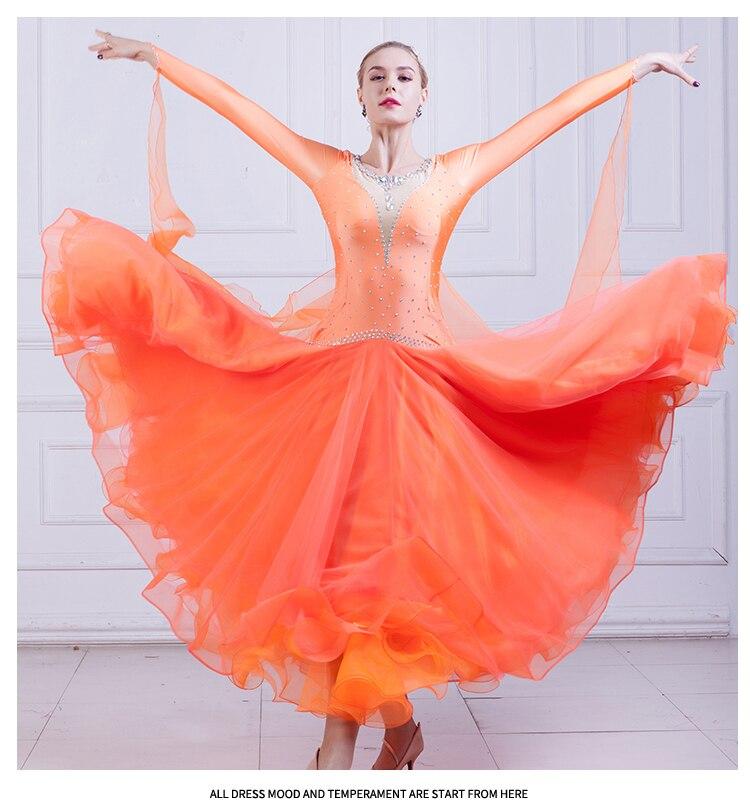 Ballroom Dance Dress Ballroom Dance Competition Dresses Female Modern Waltz Tango Dancing Dress Diamond Long Sleeve