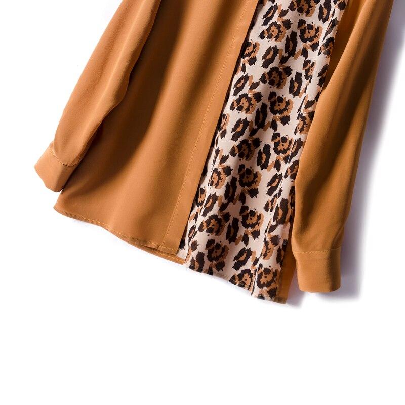 Blusa con estampado de leopardo y crepé de seda REAL de 100% para mujer, Blusa de manga larga para primavera y verano 2019, blusa para mujer - 3