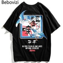 Bebovizi Brand 2018 Japanese Street Crane Printed Tops Tees Chinese Style Mens T Shirts Hip Hop Casual Cotton Tshirts