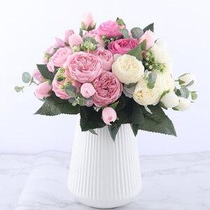 Image 2 - 30 centimetri Rosa di Seta Rosa Peonia Fiori Artificiali Bouquet 5 Grande Testa e 4 Del Germoglio A Buon Mercato Fasullo Fiori per la Casa decorazione di cerimonia nuziale indoor