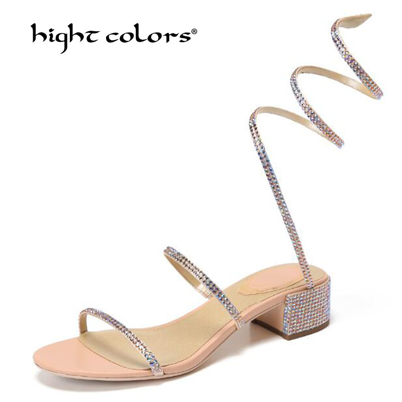 New 2019 women's summer sandals European Manual Rhinestone Sandals Sexy snake sandals women shoes Square heel shoes TB9518