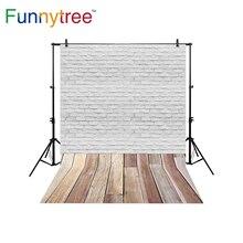 Funnytree tijolo parede fundos para estúdio de fotografia Branco piso de madeira do vintage cenário profissional photobooth photocall
