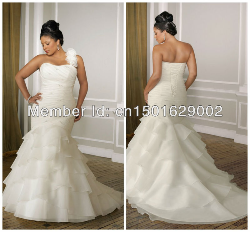 One Strap Wedding Gowns: Ph0888 Organza With Beading. Removable Ruffled One