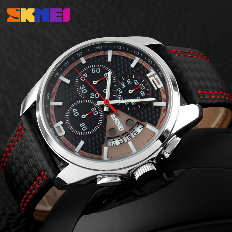2016 Männer Quarzuhr Männer Sportuhren Echtes Leder Skmei Marke Mode Uhren Datum Relogio Masculino Herren Armbanduhren