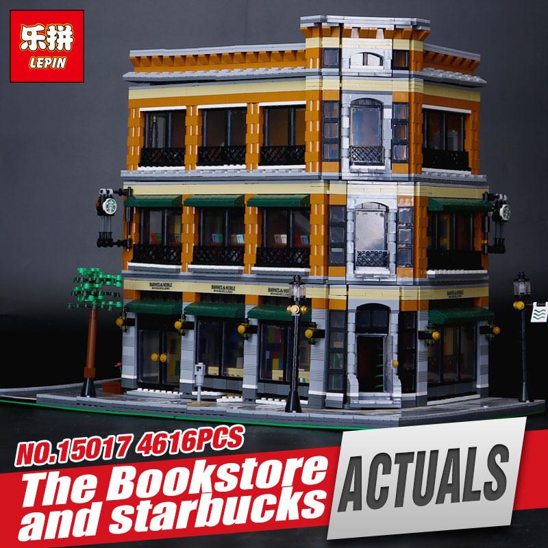 LEPIN 15017 4616Pcs City Street Starbucks Bookstore Cafe Model Educational Building Kit  Blocks Bricks Compatible Funny Toy