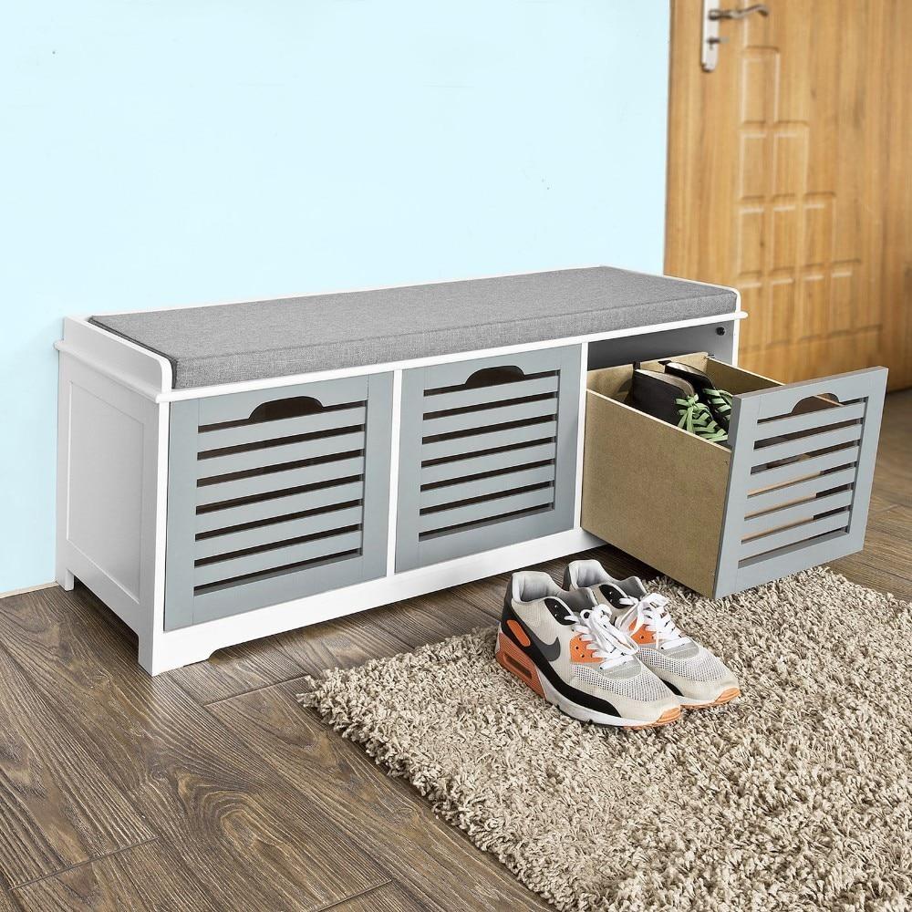 Amazing Shoe Storage Bench 3 Drawers Padded Seat Cushion Hallway Camellatalisay Diy Chair Ideas Camellatalisaycom