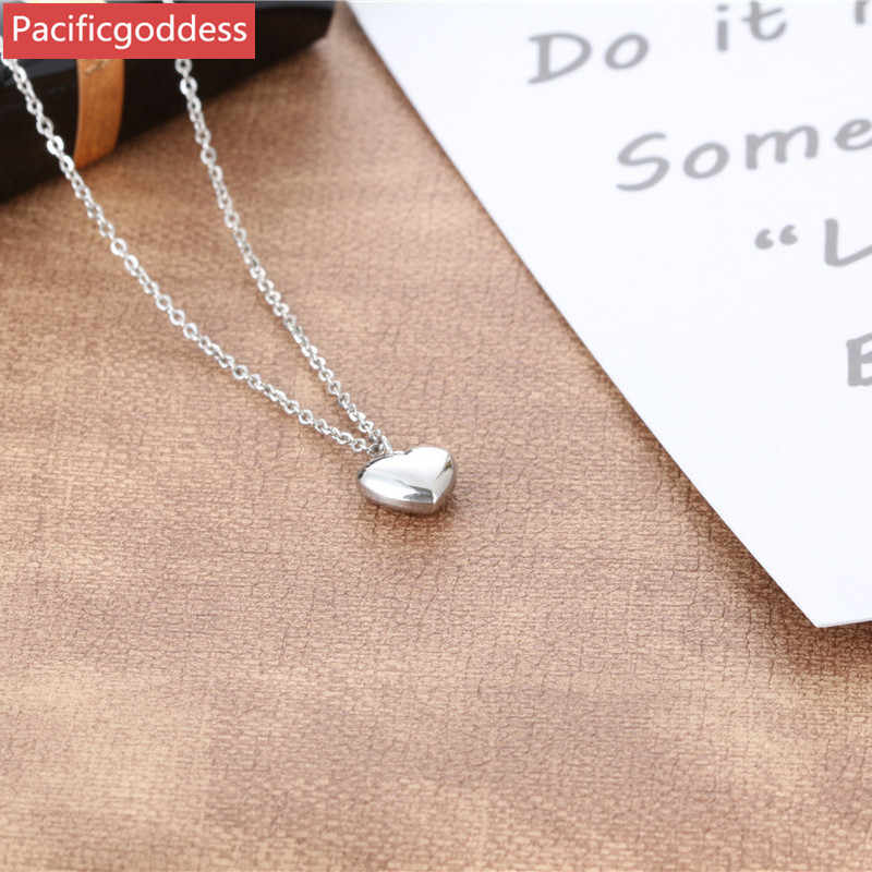 stainless steel heart pendant cute Necklace For girl