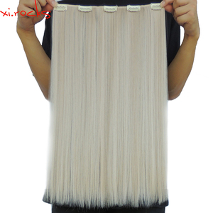 5 Piece/Lot Xi.rocks Synthetic Clip in Hair Extension 50cm Hair Clips 50g Straight Hairpin Fiber Hairpiece Beige Blonde Color 22